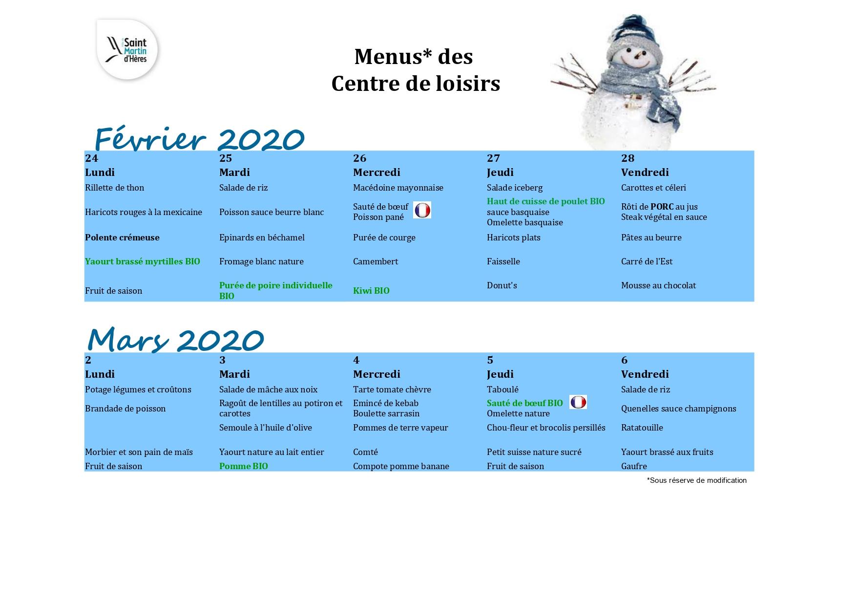 Menus RS : vacances Février 2020