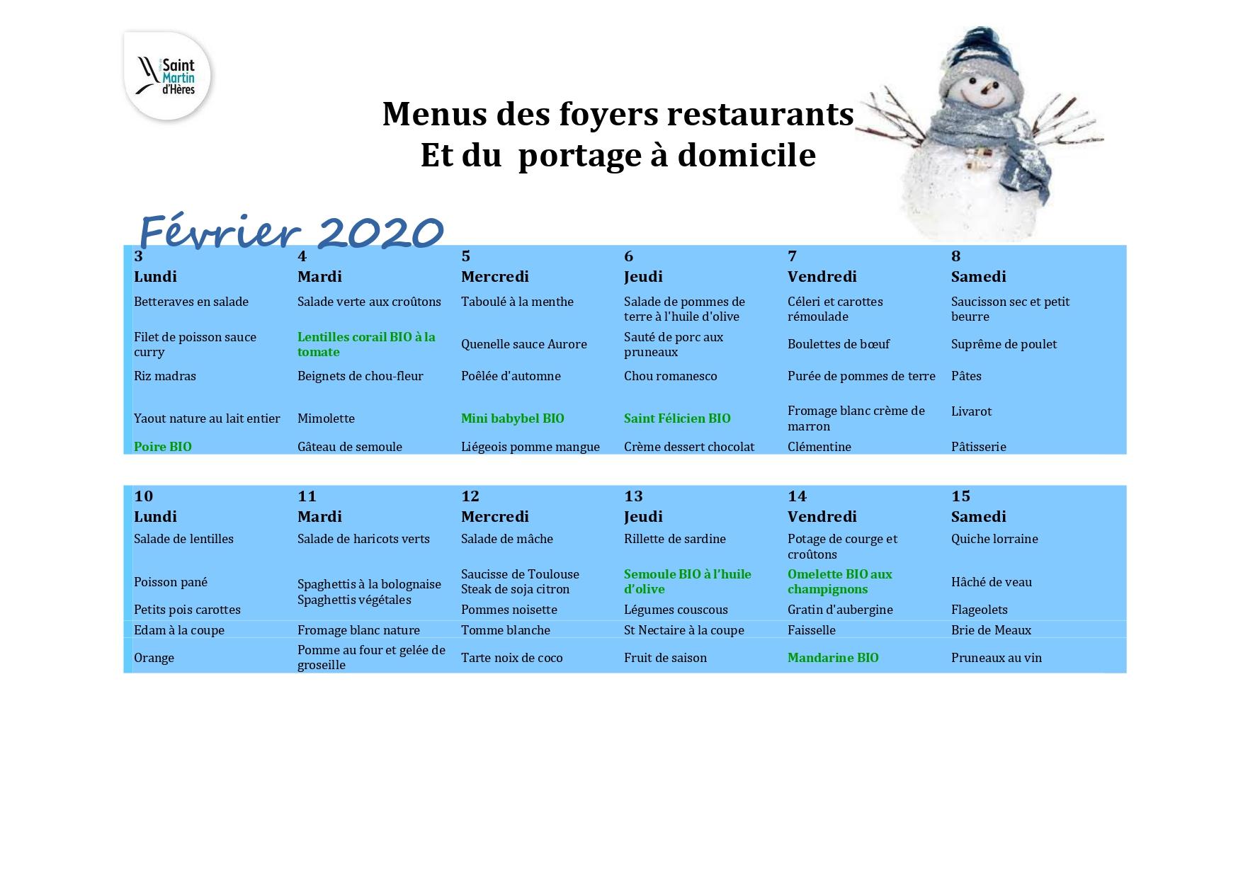 Menus foyers restaurants et portages : Février 2020