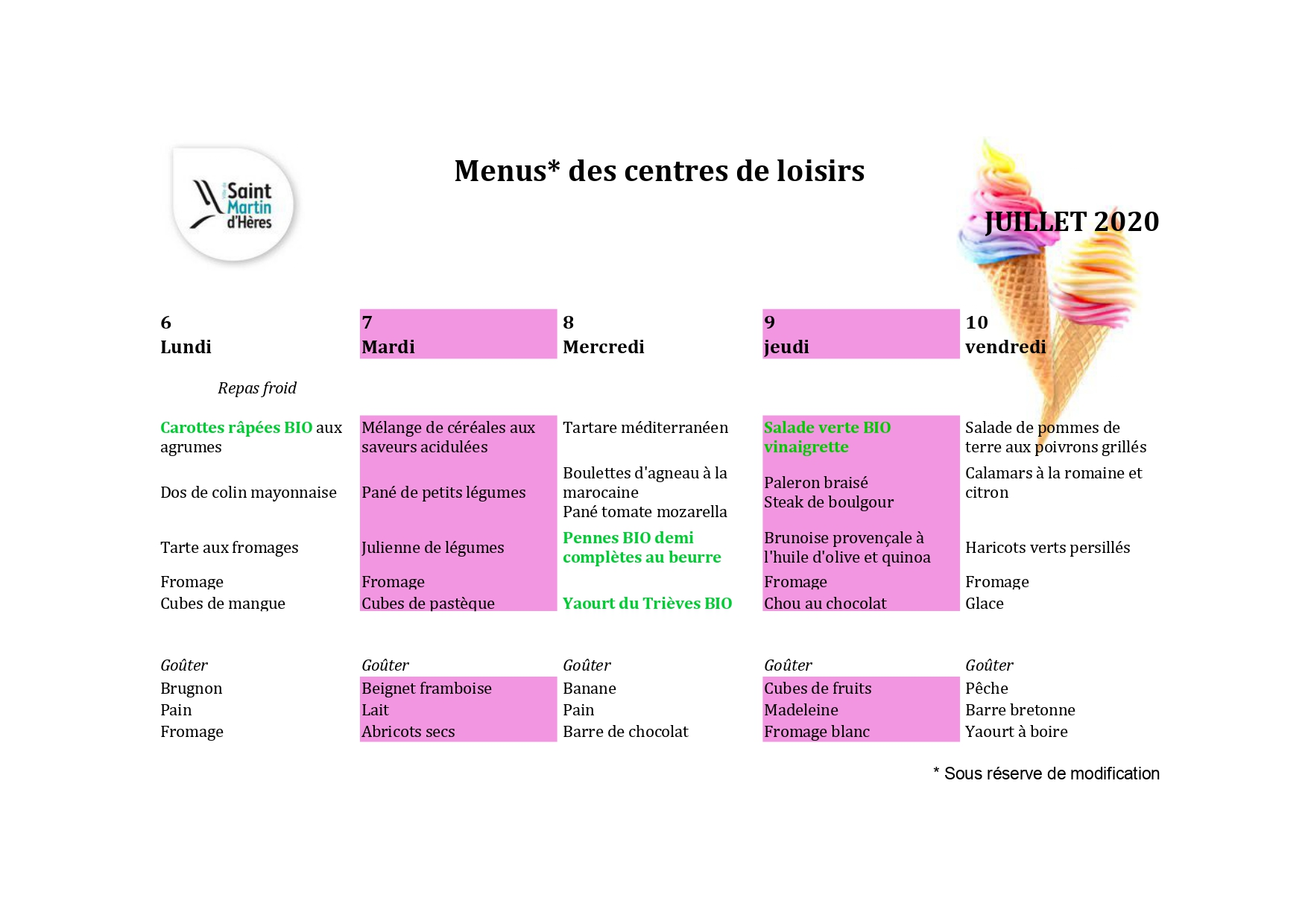 Menus centres de loisirs : juillet 2020