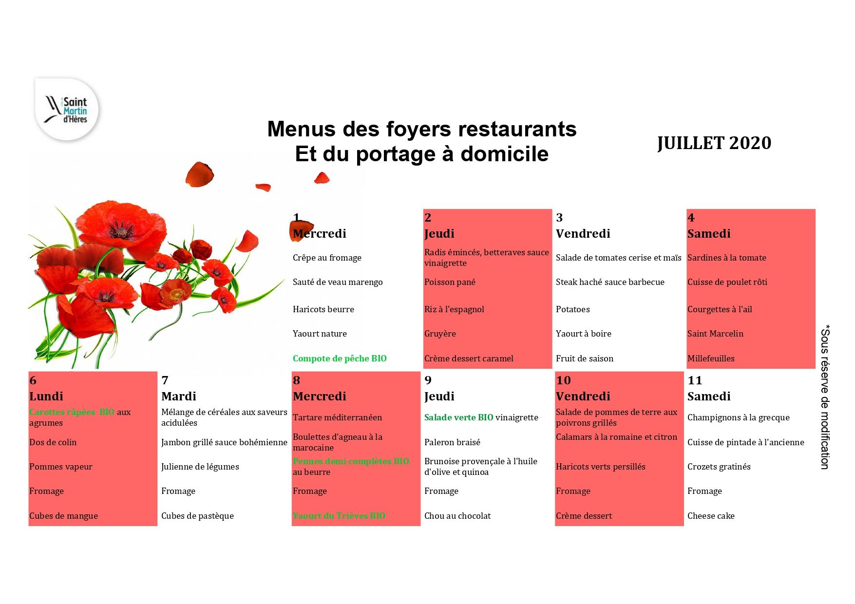 Menus foyers restaurants et portages : Juillet 2020