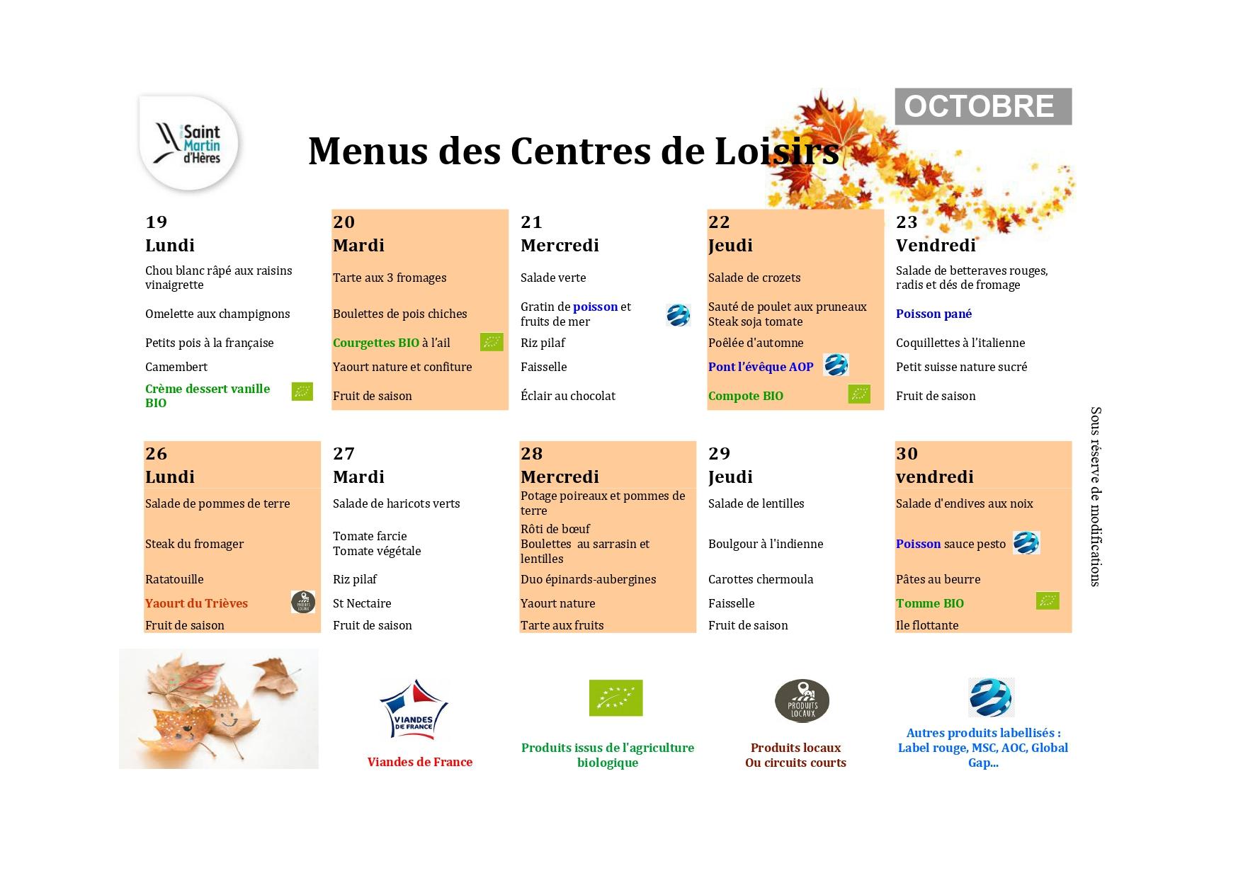 Menus centres de loisirs : Octobre 2020