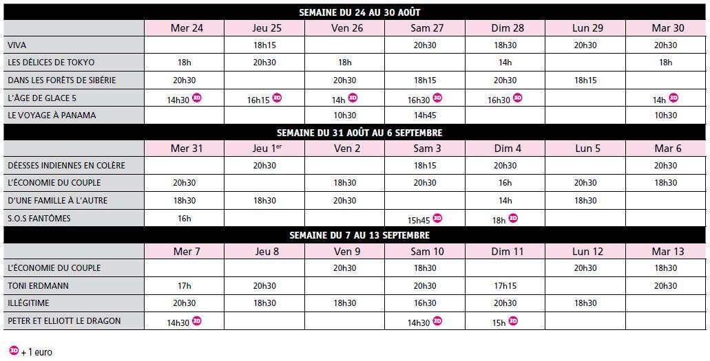 Programme Mon Ciné du 24 août au 13 septembre 2016
