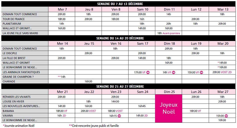 Programme Mon Ciné du 7 au 27 décembre 2016