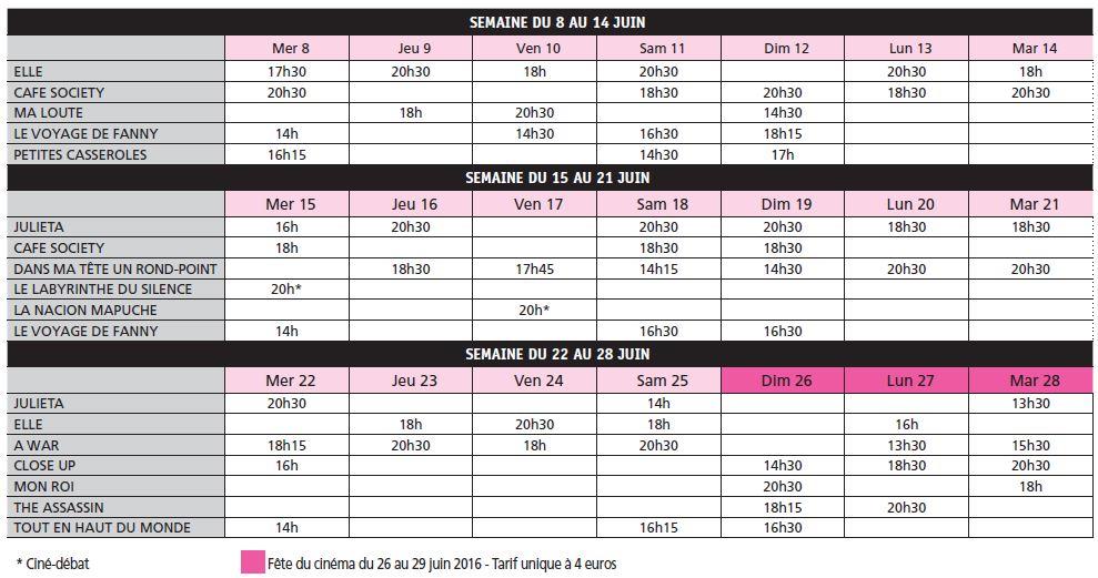 Programme Mon Ciné du 8 au 28 juin 2016