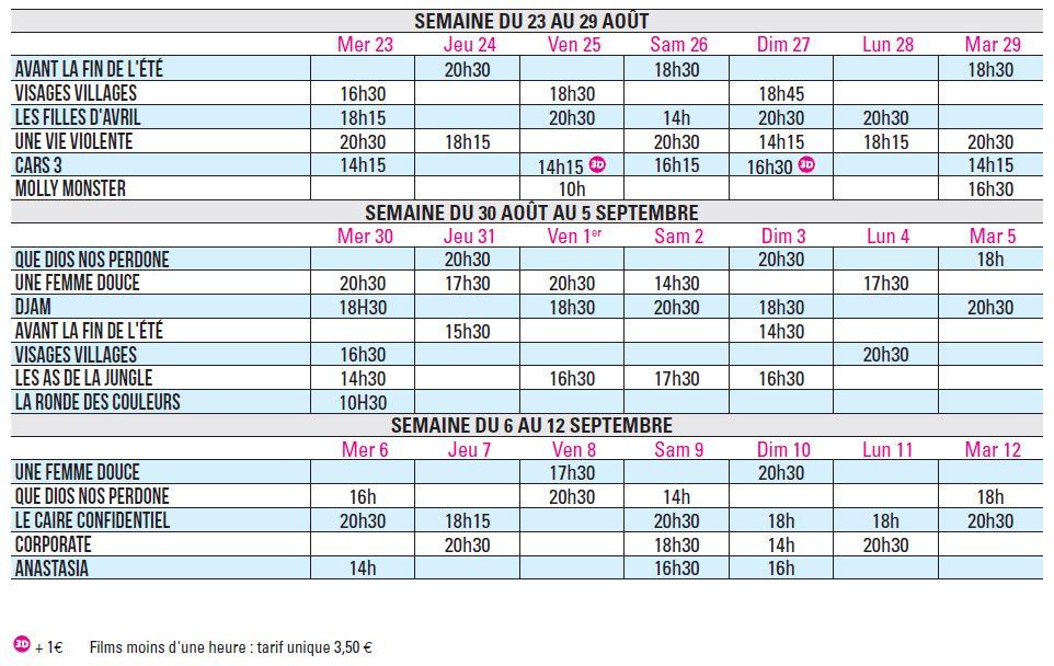 Programme du 23 août au 12 septembre 2017