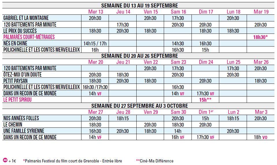 Programme du 13 septembre au 3 octobre 2017