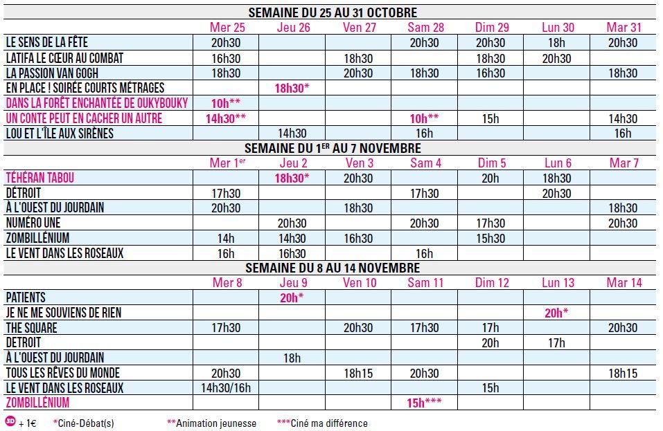 Programme du 25 octobre au 14 novembre 2017
