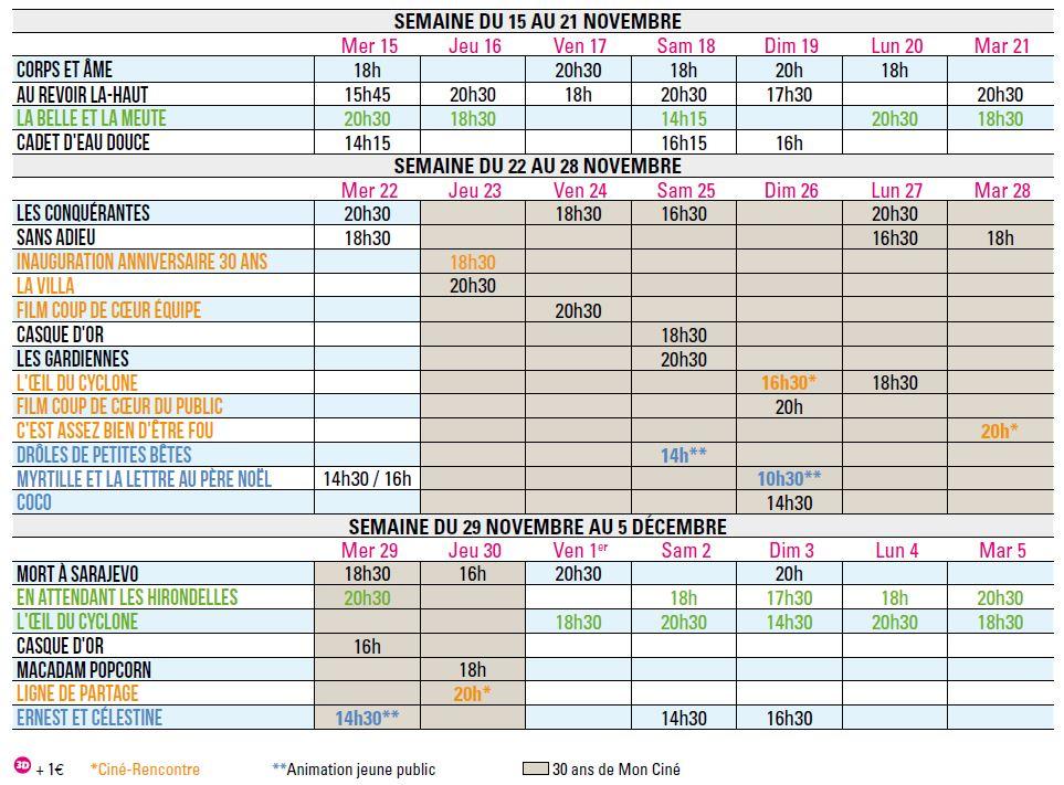 Programme du 15 novembre au 5 décembre 2017