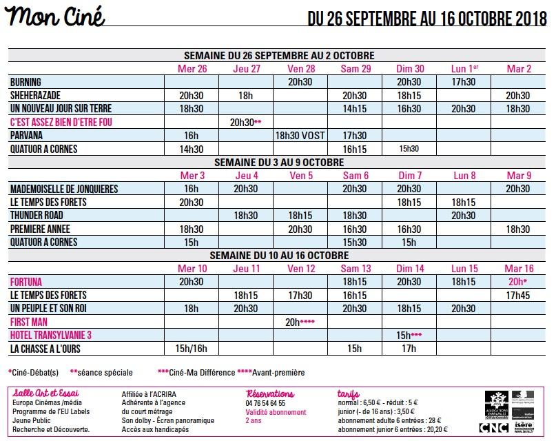 Programme du 26 septembre au 16 octobre 2018