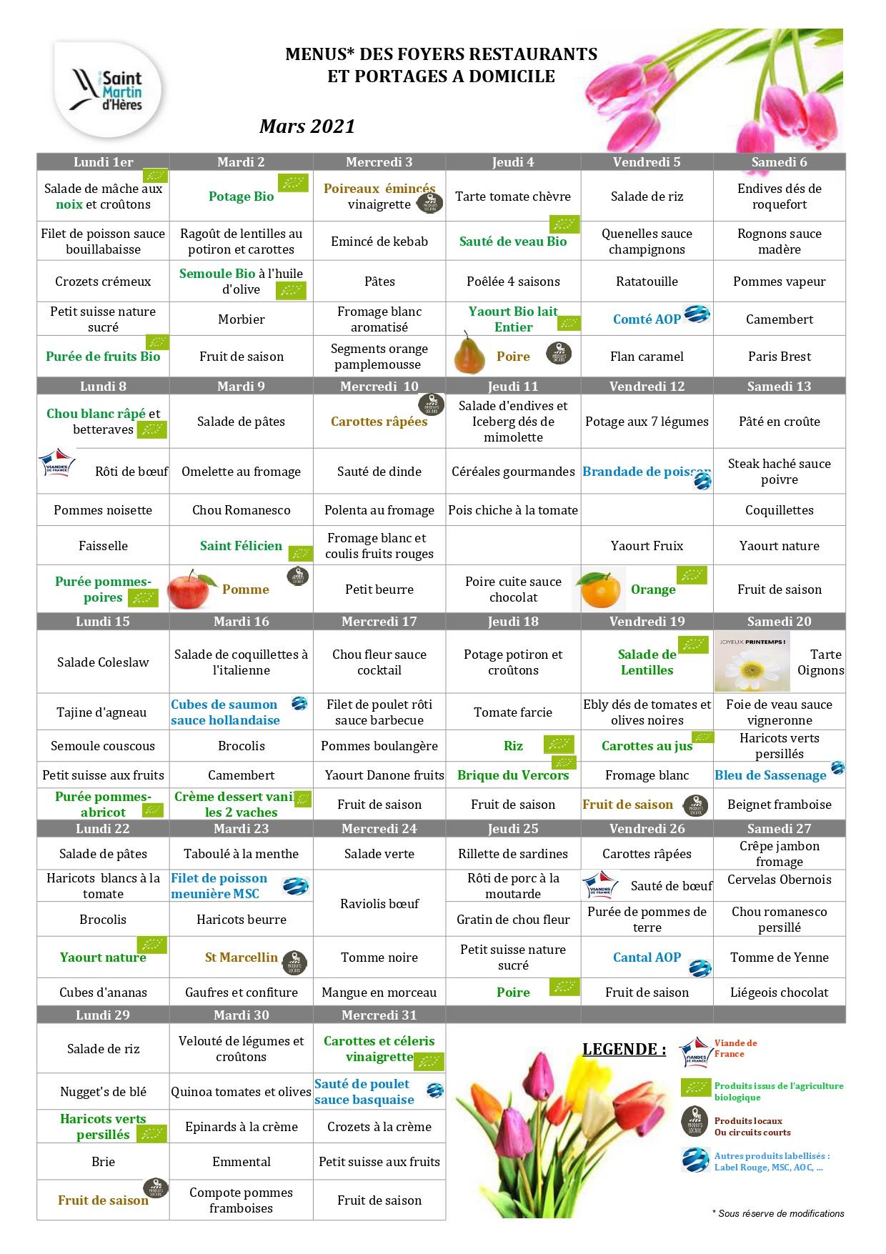 Menus foyers restaurants et portages : février 2021