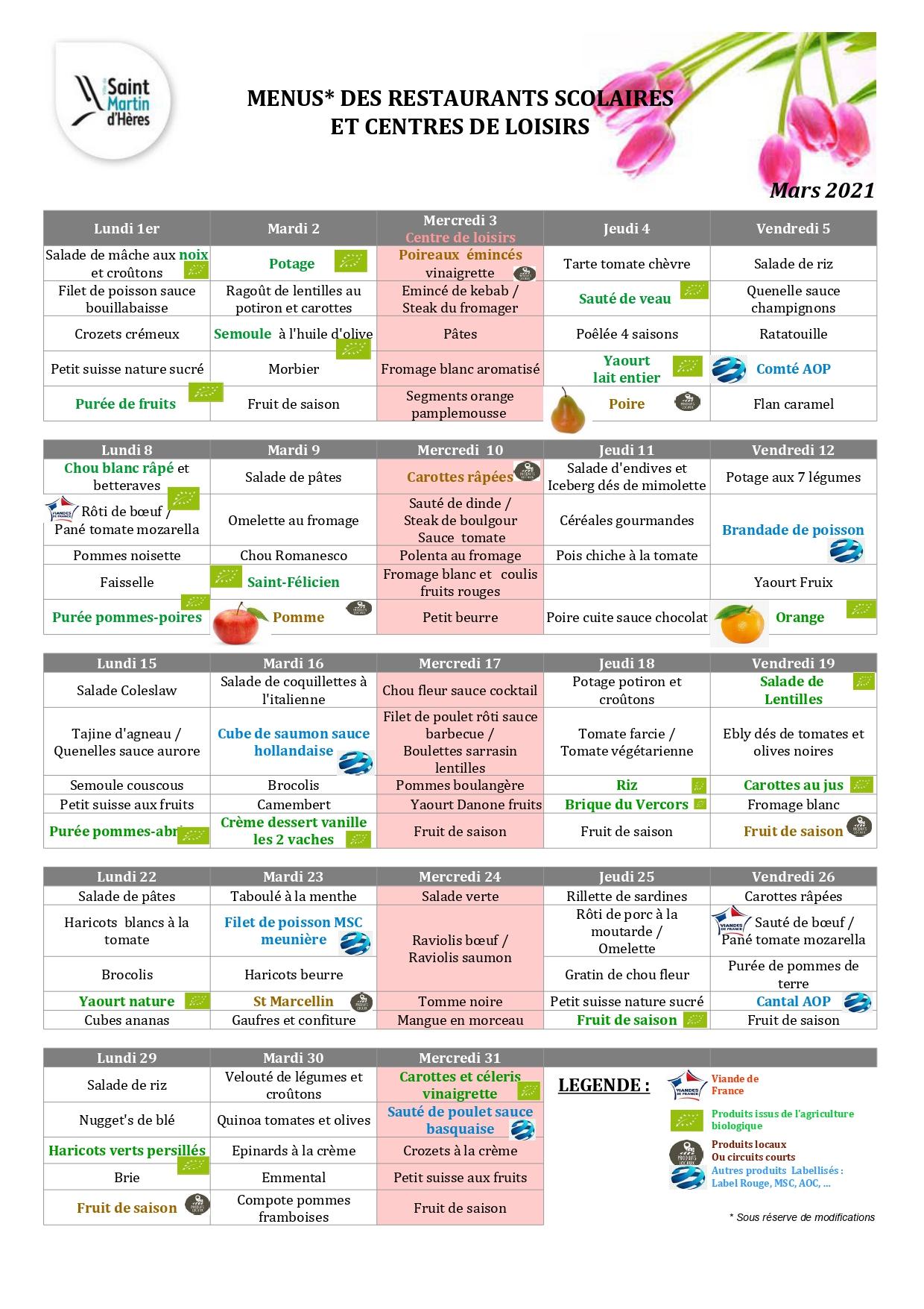 Menus centres de loisirs : Novembre 2020