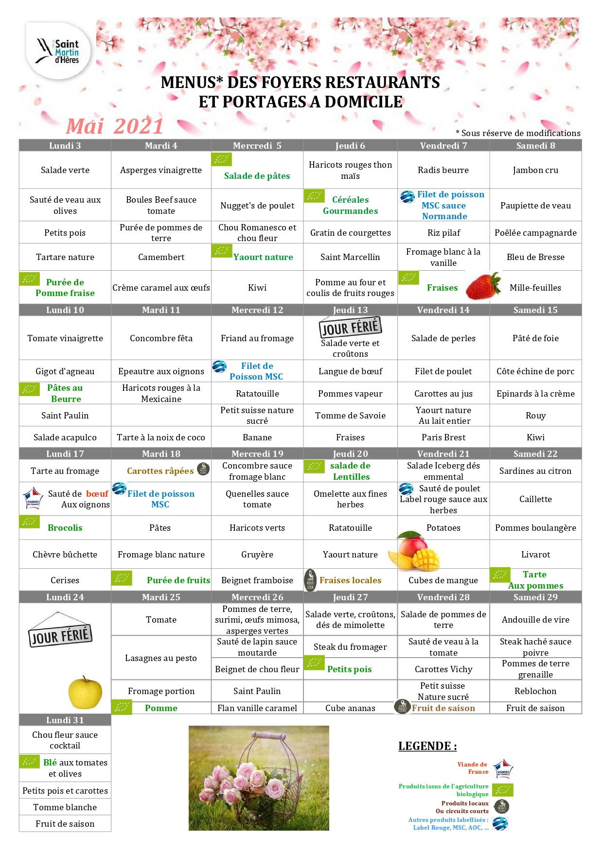 Menus foyers restaurants et portages : Avril 2021