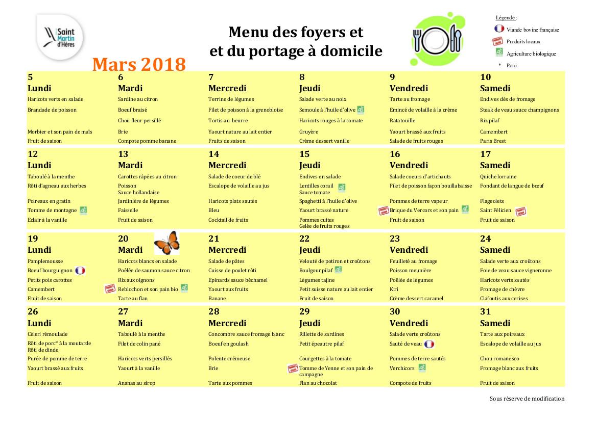 Menus foyers restaurants et portages : Mars 2018
