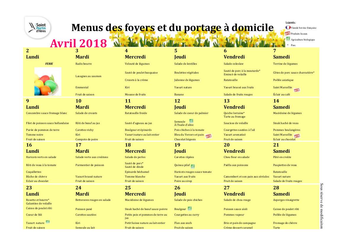 Menus foyers restaurants et portages : Avril 2018