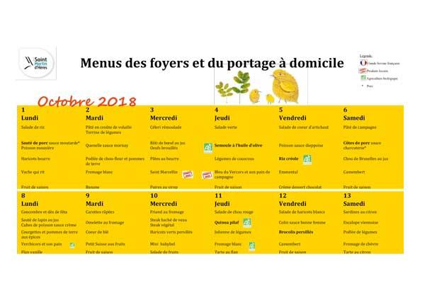 Menus foyers restaurants et portages : Octobre 2018