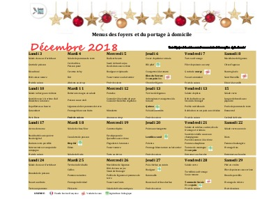 Menus foyers restaurants et portages : Décembre 2018
