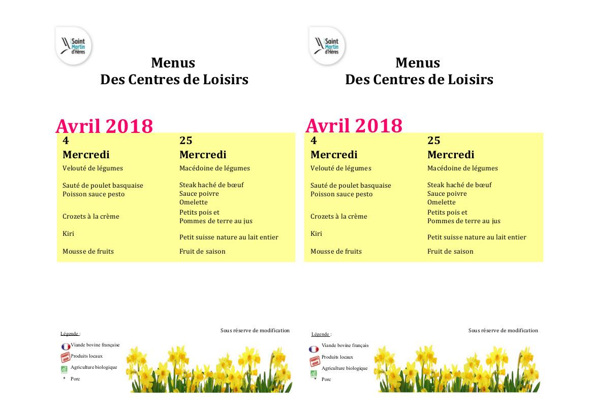 Menus centres de loisirs : Avril 2018