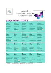 Menus centres de loisirs : Novembre 2018