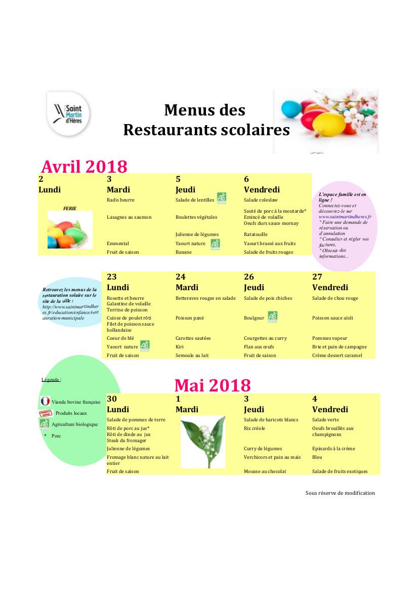 Menus RS : Avril 2018