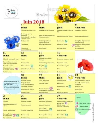 Menus RS : Juin 2018