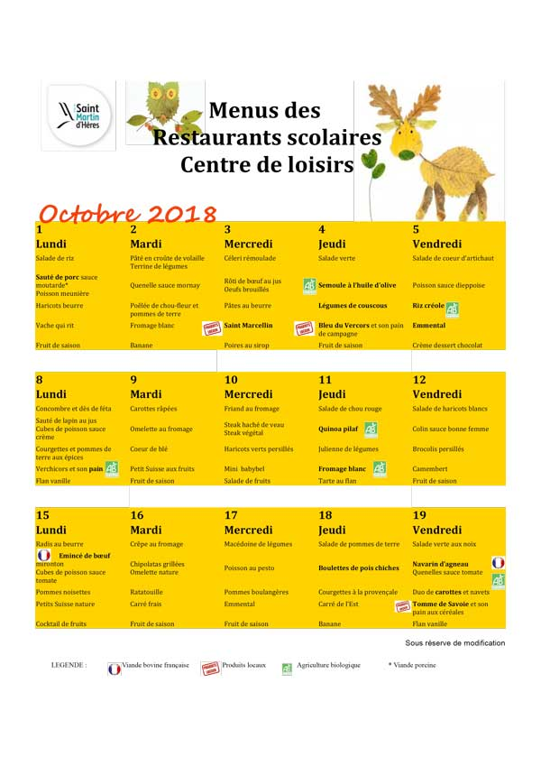 Menus RS : Octobre 2018