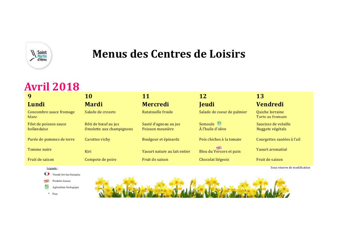 Menus centres de loisirs : Vacances scolaires Avril 2018