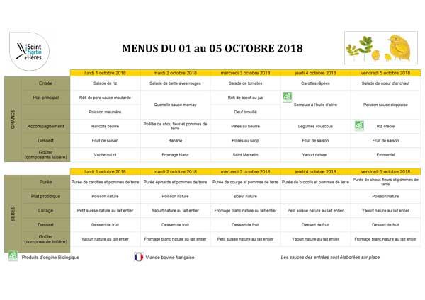 Menus crèches : Octobre 2018