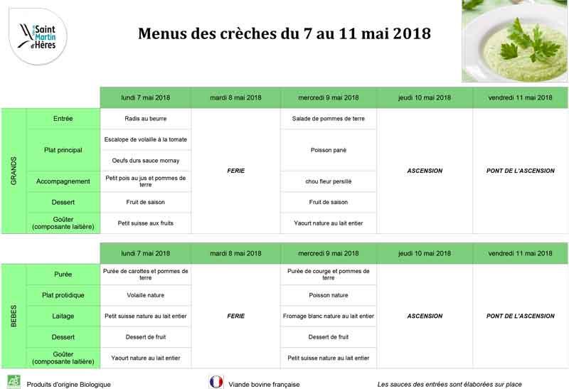 Menus crèches : Mai 2018