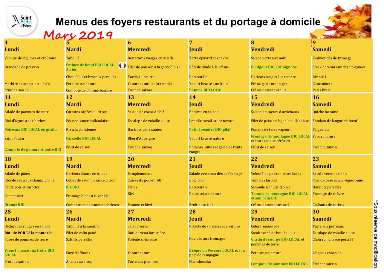 Menus foyers restaurants et portages : Mars 2019