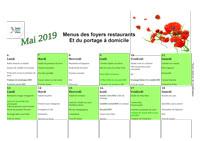 Menus foyers restaurants et portages : Mai 2019
