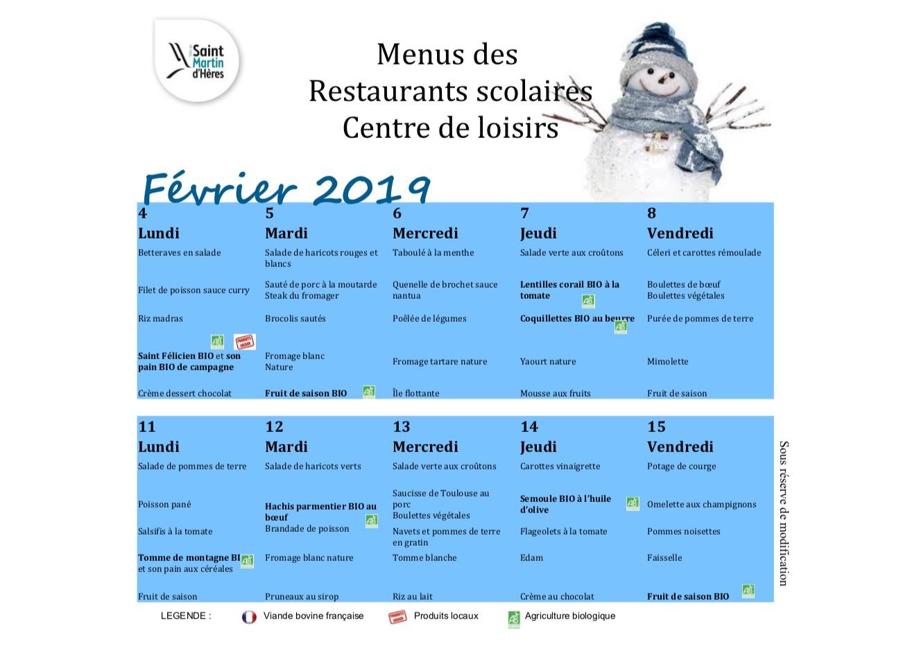 Menus centres de loisirs : Février 2019