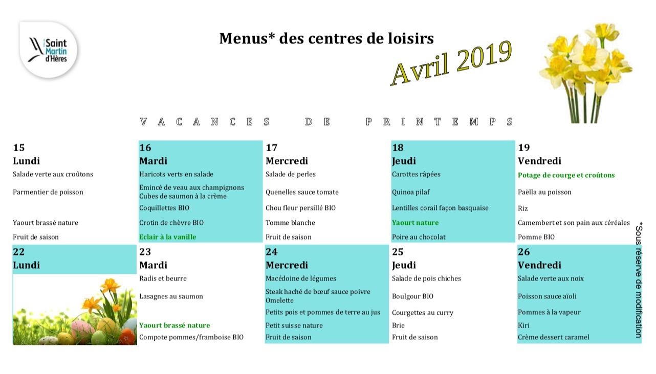 Menus centres de loisirs : Vacances Avril 2019