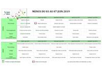 Menus crèches : Juin 2019