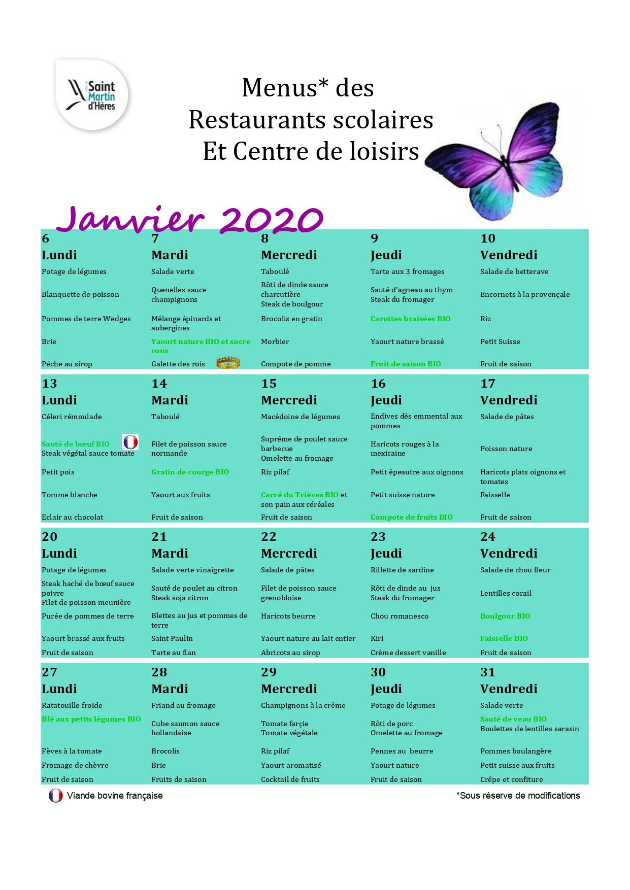 Menus centres de loisirs : Janvier 2020