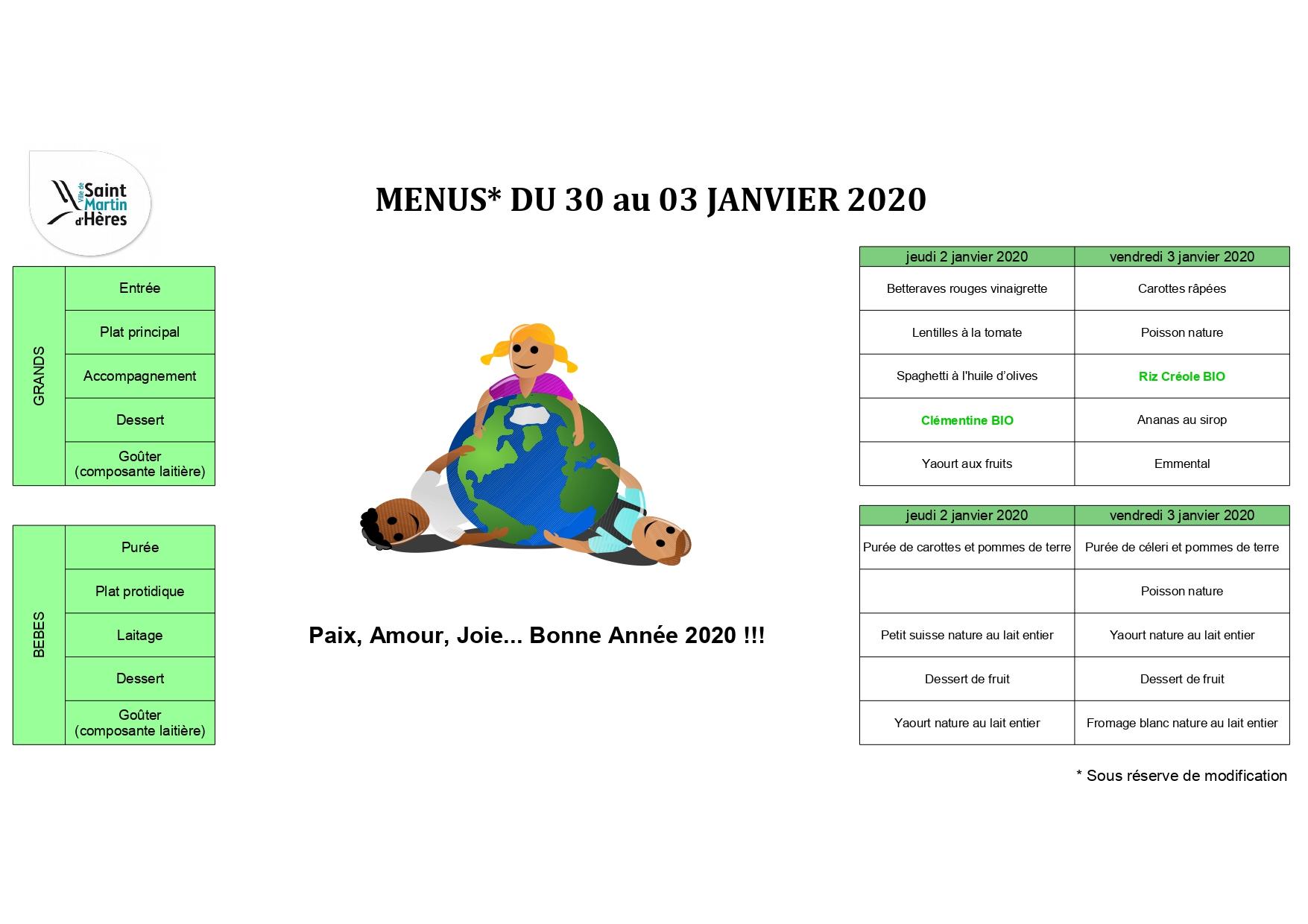 Menus crèches : Janvier 2020