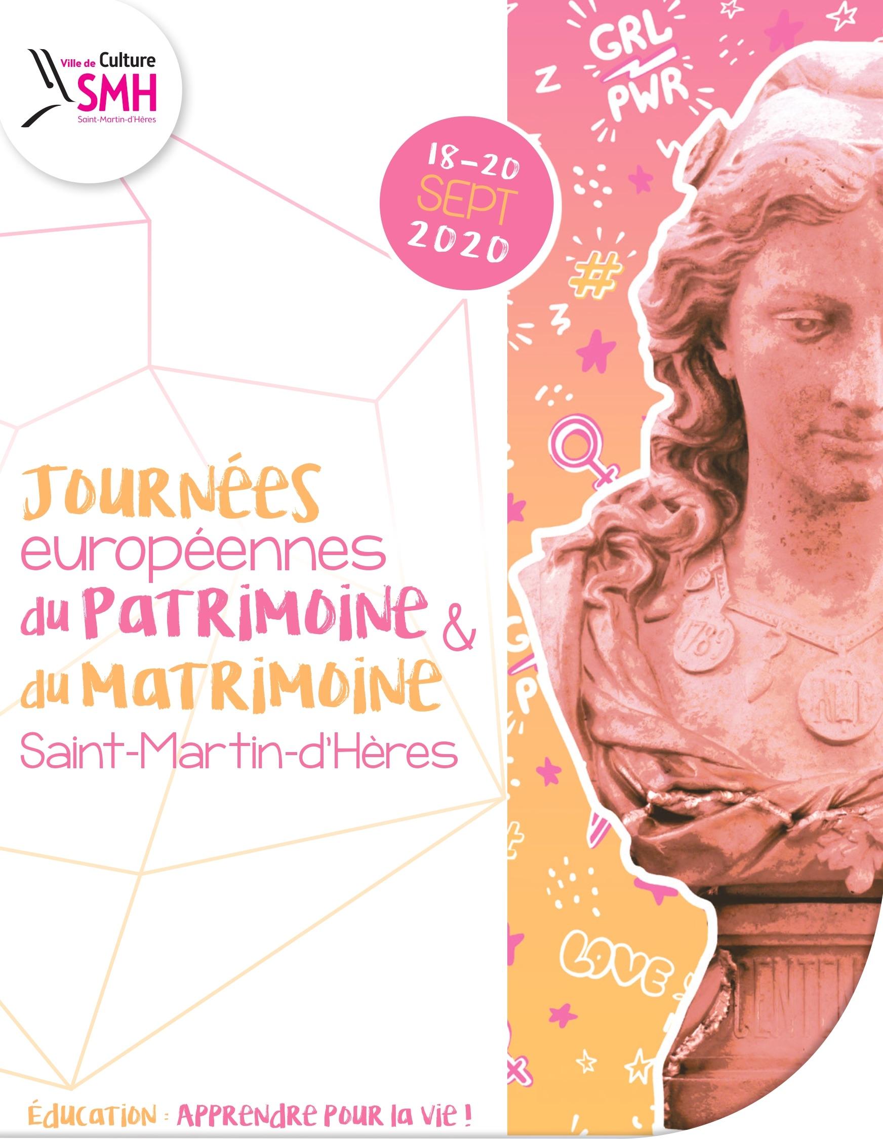 Affiche Journées du patrimoine et du matrimoine 2020 Saint-Martin-d'Hères