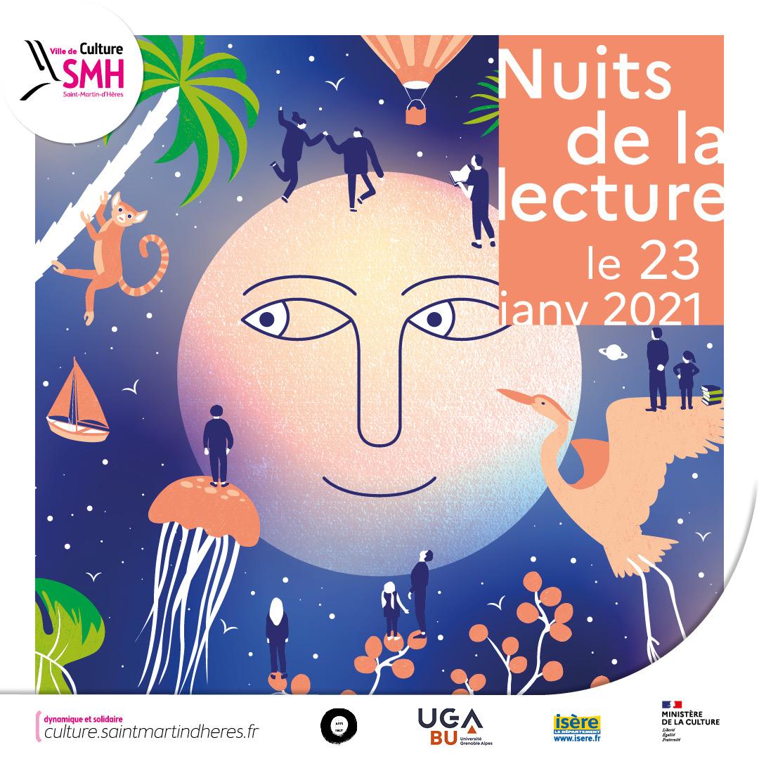 Nuits de la lecture à Saint-Martin-d'Hères : vidéo d'une lecture musicale Dominique Osmont et Yann Rambaud.
